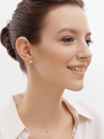 Stylish Gold Crystal Stud Earrings, image , picture 3