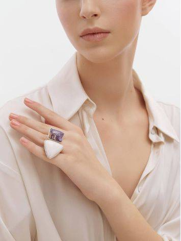 Charming Silver Cocktail Ring With Charoite And Argonite Bella Terra, Ring Size: 6.5 / 17, image , picture 3