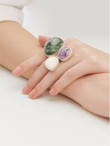 Voluptuous Silver Ring With Natural Stones Bella Terra, Ring Size: 9 / 19, image , picture 5