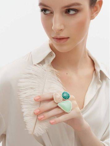Boho Chic Silver Ring With Multicolor Stones Bella Terra, Ring Size: 9 / 19, image , picture 2