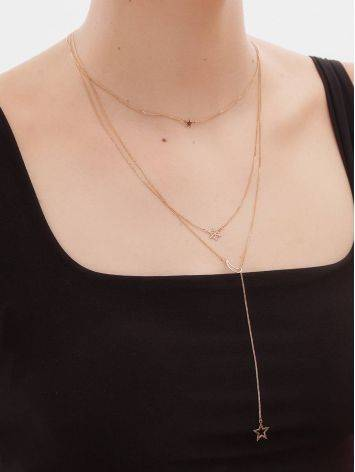 Multi Layer Golden Necklace With Crescent And Stars, image , picture 4