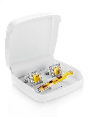 Mosaic Amber Cufflinks And Tie Clip Set, image , picture 3
