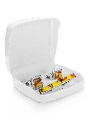 Amber Cufflinks And Tie Bar Set, image , picture 4