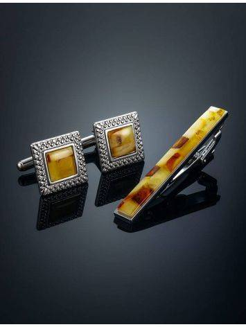 Mosaic Amber Cufflinks And Tie Clip Set, image , picture 2