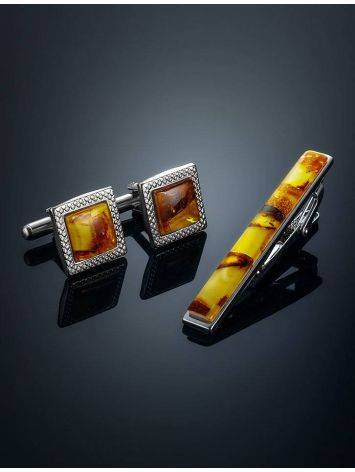 Amber Cufflinks And Tie Bar Set, image , picture 2