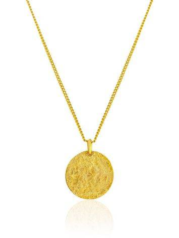 Gilded Silver Necklace With Round Pendant The Liquid, image