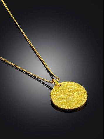 Gilded Silver Necklace With Round Pendant The Liquid, image , picture 2
