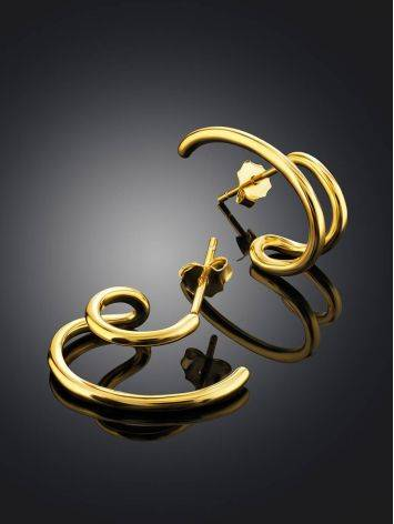 Curvy Gold Plated Silver Stud Earrings The ICONIC, image , picture 2