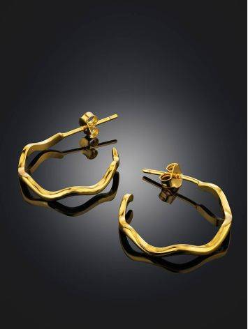 Curvy Design Gold Plated Silver Earrings The Liquid, image , picture 2