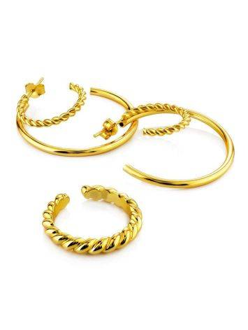 Boho Chic Gold Plated Silver Hoops The Liquid, image , picture 4