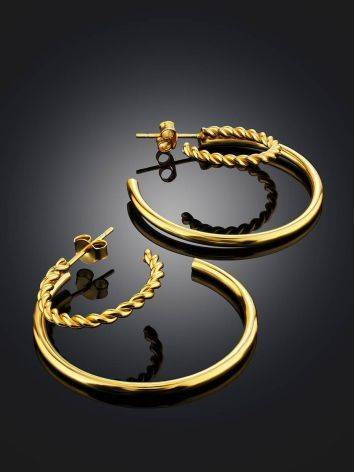 Boho Chic Gold Plated Silver Hoops The Liquid, image , picture 2