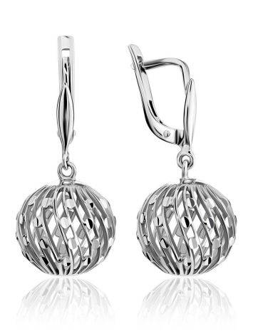 White Gold Bauble Drop Earrings, image