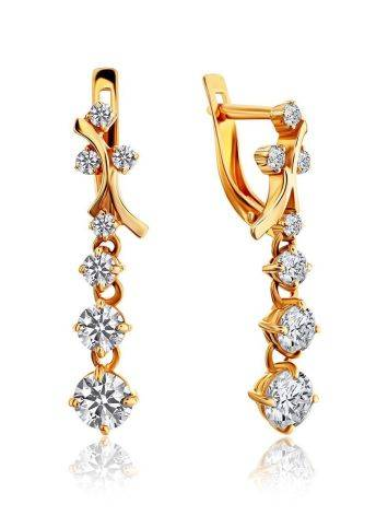 Gorgeous Golden Earrings With White Crystals, image