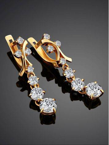 Gorgeous Golden Earrings With White Crystals, image , picture 2