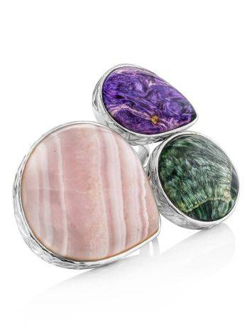 Silver Cocktail Ring With Multicolor Stones Bella Terra, Ring Size: 9 / 19, image