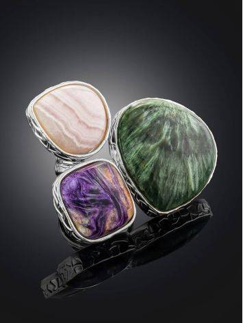 Voluptuous Silver Ring With Natural Stones Bella Terra, Ring Size: 9 / 19, image , picture 2