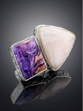 Charming Silver Cocktail Ring With Charoite And Argonite Bella Terra, Ring Size: 6.5 / 17, image , picture 2