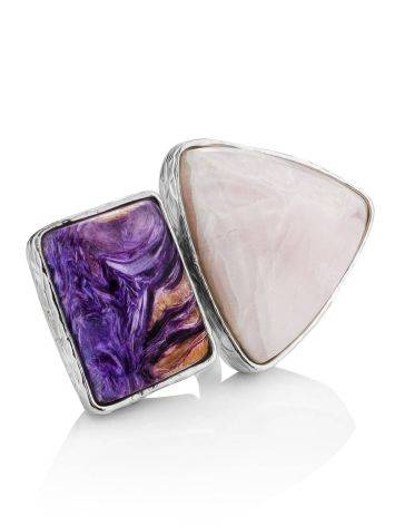 Charming Silver Cocktail Ring With Charoite And Argonite Bella Terra, Ring Size: 6.5 / 17, image