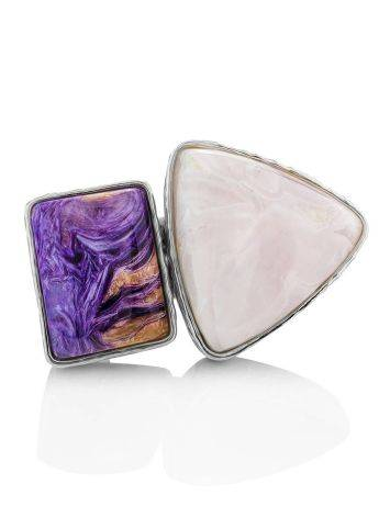 Charming Silver Cocktail Ring With Charoite And Argonite Bella Terra, Ring Size: 6.5 / 17, image , picture 4