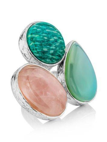 Chic Cocktail Ring With Multicolor Stones Bella Terra, Ring Size: 6.5 / 17, image