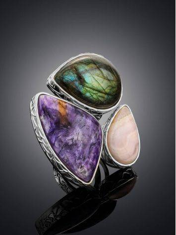 Amazing Silver Cocktail Ring With Multicolor Stones Bella Terra, Ring Size: 9 / 19, image , picture 2