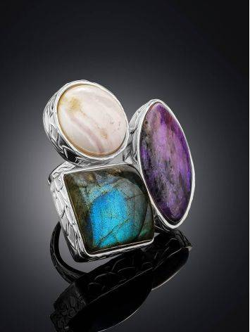 Voluptuous Cocktail Ring With Natural Stones Bella Terra, Ring Size: 6.5 / 17, image , picture 2