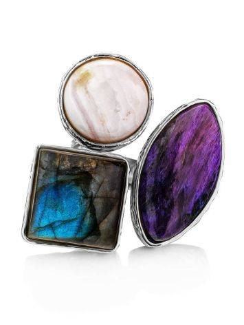 Voluptuous Cocktail Ring With Natural Stones Bella Terra, Ring Size: 6.5 / 17, image , picture 4