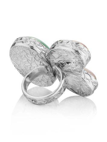 Designer Silver Cocktail Ring With Multicolor Stones Bella Terra, Ring Size: 7 / 17.5, image , picture 4