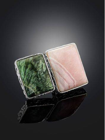 Geometric Silver Ring With Aragonite And Seraphinite Bella Terra, Ring Size: 8 / 18, image , picture 2