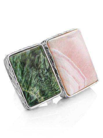 Geometric Silver Ring With Aragonite And Seraphinite Bella Terra, Ring Size: 8 / 18, image