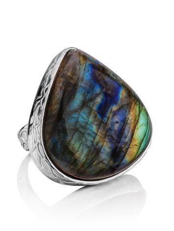 Silver Cocktail Ring With Bright Labradorite Bella Terra, Ring Size: 8 / 18, image