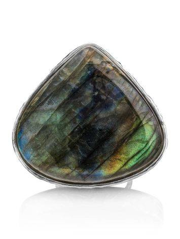Silver Cocktail Ring With Bright Labradorite Bella Terra, Ring Size: 8 / 18, image , picture 5
