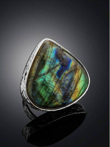 Silver Cocktail Ring With Bright Labradorite Bella Terra, Ring Size: 8 / 18, image , picture 2