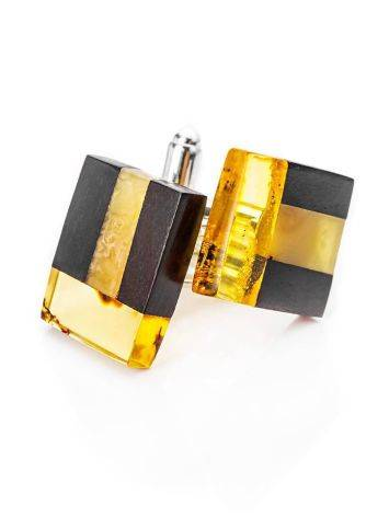Wooden Cufflinks With Amber The Indonesia, image , picture 2
