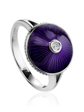 Deep Purple Enamel Ring With Diamond Centerstone The Heritage, Ring Size: 8.5 / 18.5, image