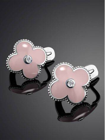 Silver Clover Shaped Earrings With Diamonds And Enamel The Heritage, image , picture 2