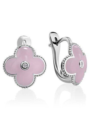 Silver Clover Shaped Earrings With Diamonds And Enamel The Heritage, image