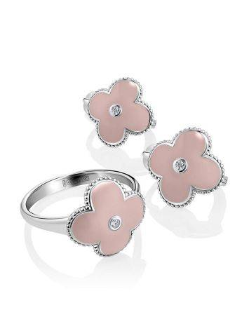 Silver Clover Shaped Earrings With Diamonds And Enamel The Heritage, image , picture 3