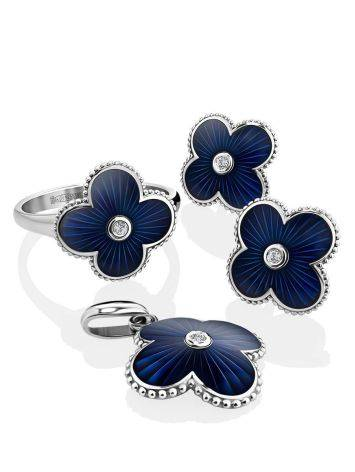 Silver Enamel Stud Earrings With Diamonds The Heritage, image , picture 3