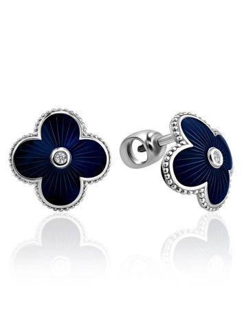 Silver Enamel Stud Earrings With Diamonds The Heritage, image
