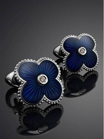 Silver Enamel Stud Earrings With Diamonds The Heritage, image , picture 2