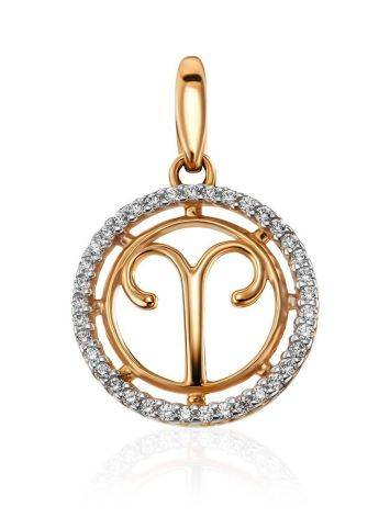 Chic Golden Aries Sign Pendant With Crystals, image