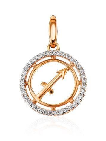 Round Golden Sagittarius Sign Pendant, image
