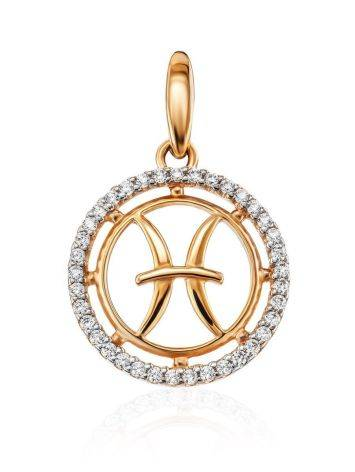 Chic Golden Pisces Sign Pendant With Crystals, image