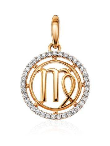 Bright Golden Virgo Sign Pendant With Crystals, image