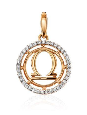 Golden Libra Sign Pendant With Crystals, image