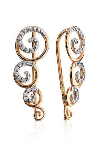 Chic Golden Climber Earrings With Crystals, image