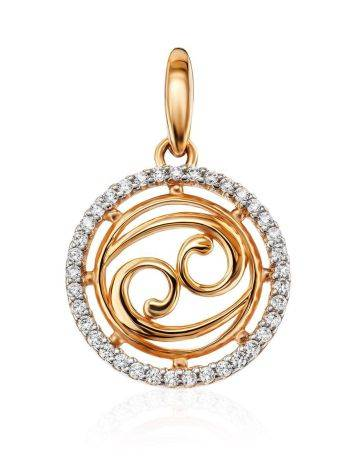 Golden Cancer Sign Pendant With Crystals, image