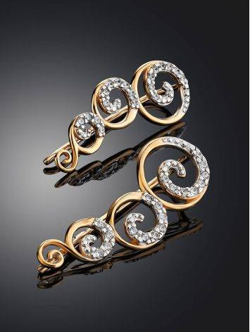 Chic Golden Climber Earrings With Crystals, image , picture 2