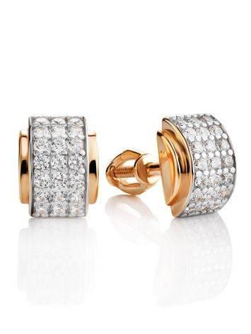 Stylish Gold Crystal Stud Earrings, image